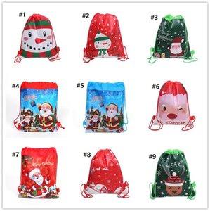 Noël Sac à cordonnet Cartoon Sacs à Noël Motif Enfants Bonbons Cadeaux de stockage Sac à bandoulière Sacs à dos Père Noël bonhomme de neige motif GWB1868