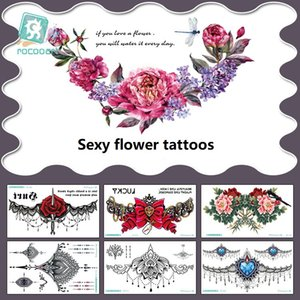 Color Tattoo flower stickers tattoos Transfer waterproof sexy personality chest