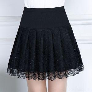 Tami5 ZEJ47 Primavera e A- Line Vestido de revestimento lateral Lace rendas jacquard verão diamante plissado base de estilo saia A- linha vestido de diamantes saia coreano
