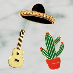 Tropical West Cowboy Hat Guitar Mexican Cactus Enamel Pin Badge Metal Girls Jeans Bag Decoration Gift Fashion Jewelry Wholesale