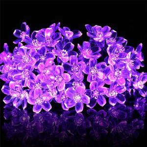 زهرة الكرز زهرة إكليل بطارية تعمل بالطاقة LED سلسلة أضواء الجنية كريستال الزهور لحفل الزفاف في الأماكن المغلقة عيد الميلاد الديكورات الأرجواني