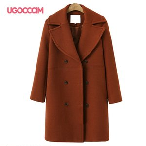 Ugoccam Yün Coat Office Lady Ceket Sonbahar ve Kış Artı boyutu Uzun WINDBREAKER Çift Breasted Kadınlar Giyim