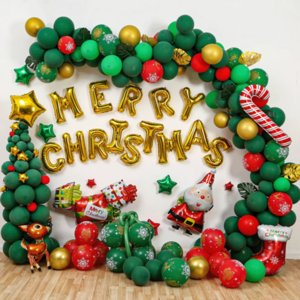 203pcs set Christmas decorations Christmas gifts cross-border for decoration aluminum film latex and Christmas party balloons