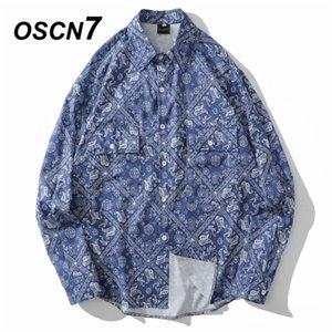 OSCN7 casuale shirt stampata a maniche lunghe degli uomini di alta alta Streetwear 2020 donne camicia di caduta Retro Shirts Harujuku Mens x107