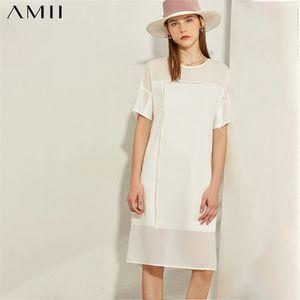 AMII Minimalism Spring Summer Fashion Spliced Thin Women Dress Causal Oneck Solid Loose Knee-length Female Dress 120800390924