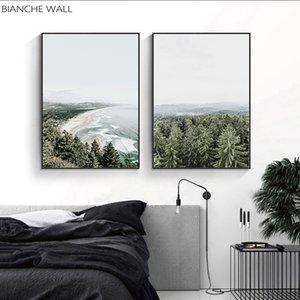 Ocean Bay Wald-Leinwand Nordic Nature Seascape Wand Kunstdruck Malerei Scandinavian Wohnzimmer-Dekoration Bild