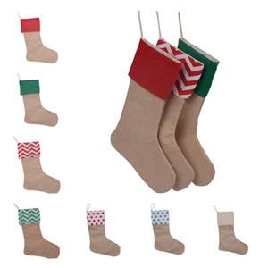 Caliente 12 * 18inch de la alta calidad de Navidad regalo de la media de la lona Bolsas de Navidad de Navidad de gran tamaño Plain arpillera Calcetines decorativos Bolsas DHF1614