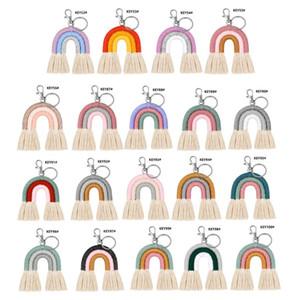 Tessitura Portachiavi arcobaleno per le donne Handmade Portachiavi Portachiavi Keyring Macrame Sacchetto di Charm Automobile Appeso Decorazione Decorazione Accessorio