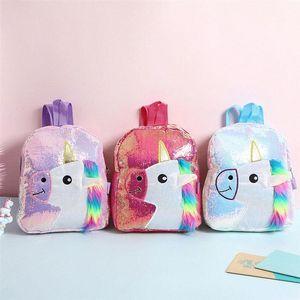 Color de rosa brillante con lentejuelas morral de la felpa del unicornio Diseño taleguilla Bookbag adorable linda de la manera niños del viaje del bolso de escuela para el estudiante amyA Niño #