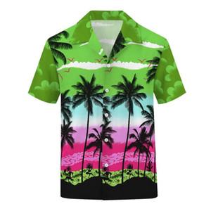 OKKDEY los hombres 2020New Baiyun coco Árbol de impresión digital usan botones de las vacaciones Cardigan de manga corta camisa de la playa