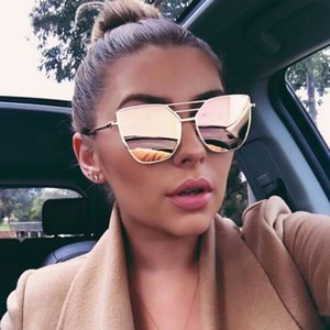 EASTWAY 2020 New Moda feminina óculos de sol clássico Marca Designer Men revestimento de espelho Vintage Praça Flat Panel Lens Sun Glasses