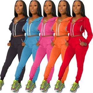 Solid Color Frauen Tracksuits mit Reflektorstreifen Langarm Strickjacke mit Kapuze Mäntel und Bleistift-Hosen-beiläufige Frauen 2 Stück Outfit