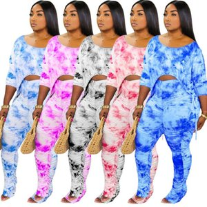 Plus chándales tamaño 3X 4X mujeres otoño invierno ropa de talla grande tie dye 2 piezas conjunto trajes de pantalones pila de manga larga camiseta ocasional de 3871