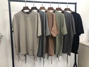 Tops Hip Hop Mens Designer Tshirts Fashion Ripped Hombro Slope Drop Gota de manga corta Tees Cinta de la tripulación