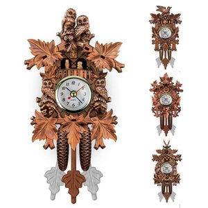Vintage Home Decorative Bird Wall Clock Hanging Wood Cuckoo Clock Living Room Pendulum Craft Art For New House