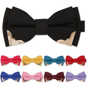 2020 New Fashion Men's Bow Ties Wedding Bridegroom Double Fabric Metal Decoration Bowtie Banquet Butterfly Tie with Gift Box