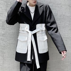 Cor bolso do casaco para homens paletó Homens Hip Hop Japão Coreia Estilo Belt Blazers Terno Brasão Outerwear Suit