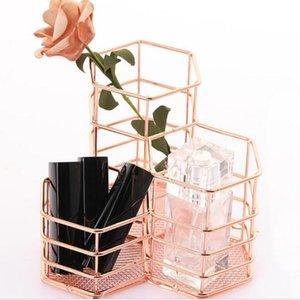Creative Hexagon Wrought Makeup Brush Holder Desktop Organizer Eyebrow Pencil Stand Beauty Makeup Tool Kits
