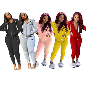 Frauen desinger 2-teiliges Set Herbst Winterkleidung Fitness-Jogger Sweatshirt Hosen sweatsuit Strickjacke Leggings Outfits hotselling Mode 0480
