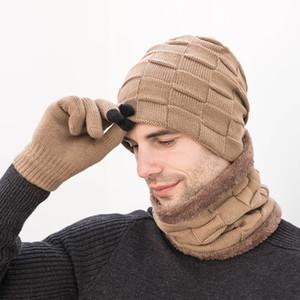Перчатки экрана Unisex Шапочки Hat кольцо шарф перчатки Набор зимы Вязаные Толстые Теплый Cap Женщины Мужчины Твердые ретро Beanie Hat Soft Touch