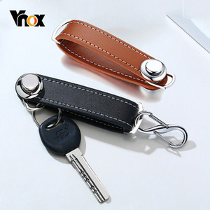 Vnox Genuine Leather Car Key Pouch Bag Case Wallet Holder Chain Key Collector Housekeeper Pocket Organizer Keychain