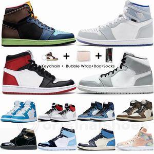 Nike Air Jordan Retro 1 Bio Hack Jumpman 1 Mid Snake Chicago Alta Travis Scott Basso Parigi 1S scarpe da basket donne degli uomini UNC Grigio fumo Tie Dye Sport Sneakers 36-47