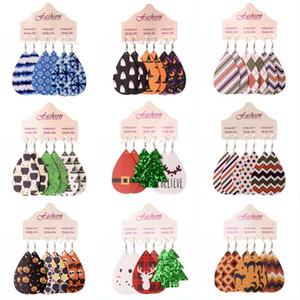 DHL Versand Weihnachten Tropfen-Ohrring-Set für Frauen handgemachtes Leichtes Leder Teardrop Ohrring Bleistift baumeln Ohrring Charm Schmuck HHD1544
