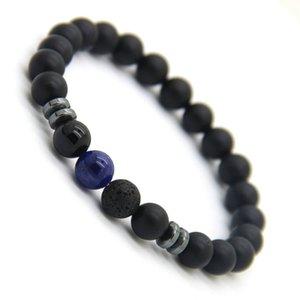 New Design Mens Bracelets 8mm Matte Agate Stone Beads Tiger Eye Lave Stone and Blue Veins Lucky Bracelets