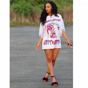 Print Female Clothing Fashion Sexy Casual Apparel Women Summer Gauze Sleeve Shirt Dresses Crew Neck Picture