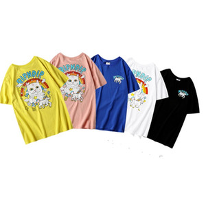 RIPNDIP High quality fashion designer clothing Rainbow Unicorn cat color matching printing short sleeve cotton t-shirt for men and women