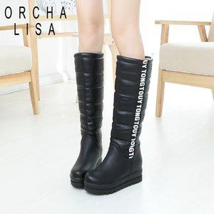 Orcha LISA Женская обувь колено высокие сапоги Женский Лифтовой плоский Тепловое Velvet Snow Boots Платформа хлопка мягкой обуви Botas A838c