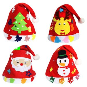 4pcs DIY Xmas Hat Creative Lovely Funny Christmas Party Cap Christmas DIY Cap Hat for Toddler Kids Children