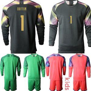 Custom 2020 European Cup Italy goalkeeper 1 buffon Kids Football Kits Long Sleeve Soccer Jerseys camisa de futebol Clothes Boys