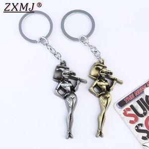ZXMJ Suicide Squad Quinn Keychain Schlüsselanhänger Retro färbt Gold silbrig Clown Mädchen Abbildung Keychain für Frauen Mann Geschenk