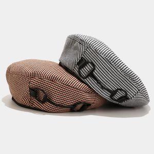 Kadınlar Sonbahar Moda Yeni Ressam Şapkalar Kadın Casual Siyah Kabak İçin Oloey Vintage Şık Houndstooth Bereliler Streetwear Caps