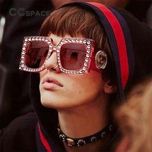CCSPACE gafas de sol de cristal de diamante marco grande Mujeres Rosa Brillante G vidrios cuadrados Marca diseñador de moda Gafas Sombras 45215