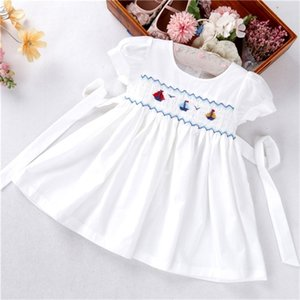 summer baby girls dresses white smocked hand made plain solid cotton Sailboat kids clothes 0922