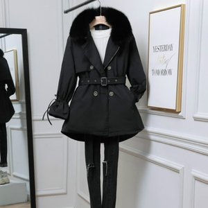 Women's Down & Parkas Ladies Jacket Mid-length Thick And Removable Korean Fashion White Duck With Big Fur Collar