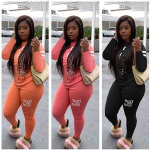 Letter Print Women Tracksuit Long Sleeve T Shirt Pullover + Pants Leggings Two Piece Set Autumn Outfits Fashion Sportswear Suit Clothes 2020