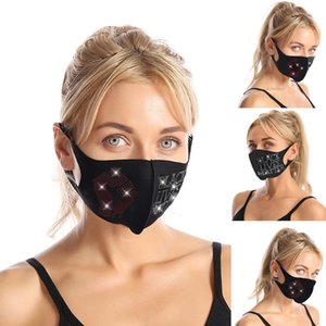 Bling Rhinestone Fashion face mask Sequins designer face fist mask women Flash drilling mask for women black mascarilla