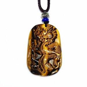 Atacado 5 pcs Natural Tiger Eye pedra gravada chinesa de pingente de dragão Handmade Weave Rope Colar Cadeia Clássico Jóias