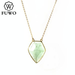 FUWO naturel fluorite labradorite Amazonite Chrysoprase Rose Quartz Collier avec chaîne bijoux en or Entretenu gros NC255