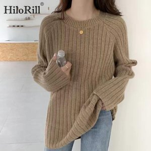 HiloRill Women Casual Loose Basic Pullover Sweater 2020 Autumn Winter O Neck Knitted Jumper Female Long Sleeve Tops Sueter Mujer