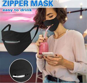 DHL Ship Creative Zipper Face Mask Zipper Design Easy to drink Washable Reusable Covering Protective Designer Masks FY9171