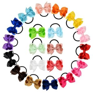 Baby Ponytail Holder Elastic Rubber Band Bow Girls Hair Rope Bows hairbands Children Grosgrain Ribbon Kids Hair Accessorie 20 Colors