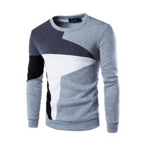 Spring Autumn Clothes Men Sweatshirt Men's Casual Slim Long Sleeve Fit Shirt O-Neck Patchwork Top Blouse moleton masculino