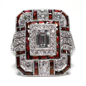 Luxury Silver Color Big Square Rings for Women Jewelry Wedding Crystal Zircon Anel Engagement Anillos Statement Ring Gifts