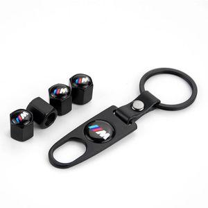 4 pçs / lote Capas de válvula de pneu de carro tampa da poeira da roda aérea com keychain Emblem Car Styling para BMW MERCEDES BENZ AUDI VW HONDA MAZDA
