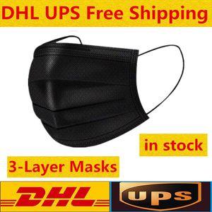 Super schnelle Lieferung 3-7 Tage Black Einweg-Gesichtsmasken 3-Schicht-Schutz-Maske mit Earloop Mund Gesicht Sanitary Außen Masken kommen