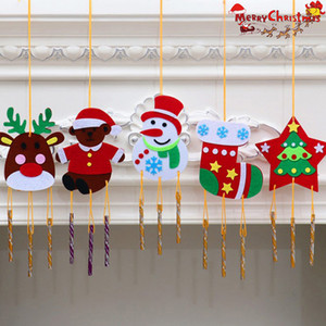 1 juego metal DIY de árbol de Navidad del arte del copo de nieve Jingle Bell perlas Feliz Navidad Bell Ornamento Decoración